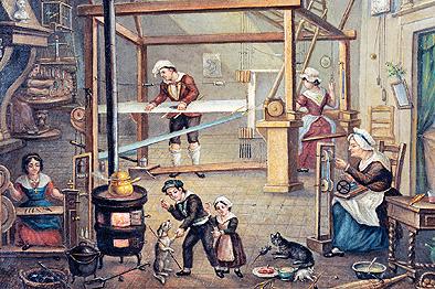 Atelier de canut, peinture, h. 39,5 x l. 48.5 cm, inv. (9)97.3