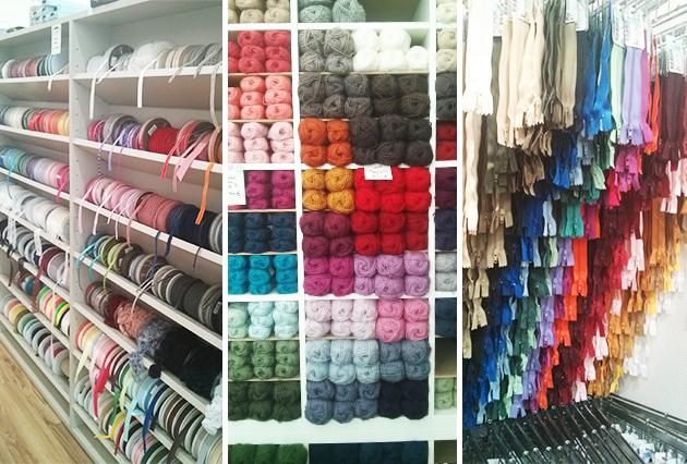 rubans, fermetures et laines