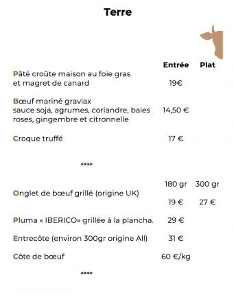 se décline le bœuf sous son meilleur profil :) Onglet, entrecôte, côte, ou encore mariné Gravlax, etc.